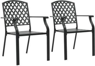 vidaXL Stablestoler 2 stk stål svart