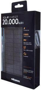 Mikamax MM Powerbank med Solcellelader 20.000 mAh