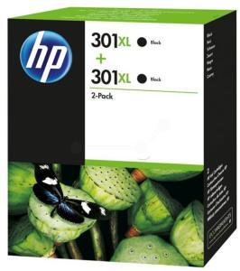 HP Blekkpatron No.301XL Sort Høykapasitet 2stk (2x8ml) D8J45AE (Kan sendes i brev)
