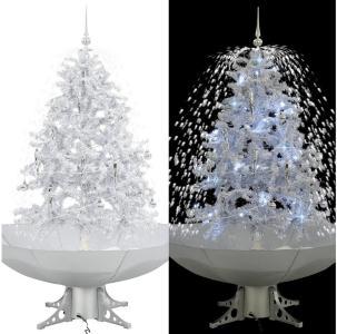 Kunstig juletre med snø og paraplyfot hvit 140 cm - Hvit