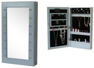 Jox Møbler, Veggspeil& smykkeoppbevaring med LED-belysning, Grå