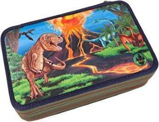DinoWorld pennal med innhold og ledlys - trippel