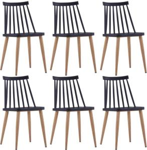 vidaXL Spisestoler 6 stk svart plast stål
