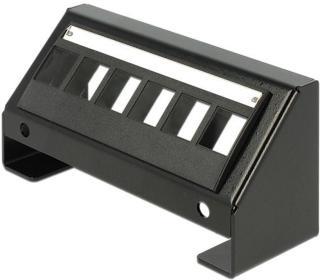De-lock  Keystone panel, 6-porter, 45° vinkel på porterna, metall, sva 86268 (Kan sendes i brev)