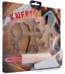 Knerten, Karoline og Lille-Knerten pepperkakeformer med kjevle