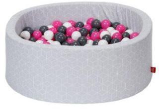 knorr® leker ballbad mykt - Geo terninggrå inkludert 300 baller krem ??/ grå / rose