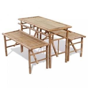 Piknikbord 3 deler bambus - sammenleggbart