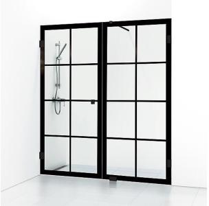 Svedbergs 180° Rista Dusjnisje, dobbel 1600 mm, Blank Krom/Klart Glass