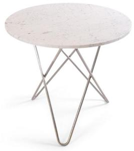 OX DENMARQ O Table Spisebord Rustfritt Stål/Hvit Marmor Ø80