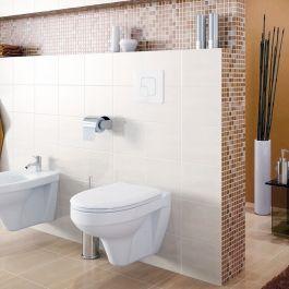 Vegghengt toalett inkludert spyleknapp og sisternesystem, justerbar høyde, toalettets mål 520x360x375