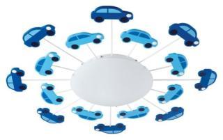Eglo Viki 1 Barnelampe med biler, Plafond, Blå