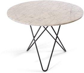 OX DENMARQ Large O Table Hvit Marmor med Svart Ramme Ø100