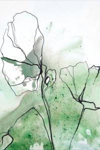 Malerifabrikken Poster Flowerline 1 Unisex Grønn