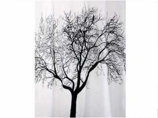 Dusjforheng Bisk Tree 180x200cm - svart/hvit