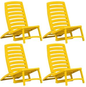 vidaXL Sammenleggbare strandstoler 4 stk gul