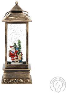 Vannfylt Lykt Julenissen Og Barn Oppladbar Konstsmide