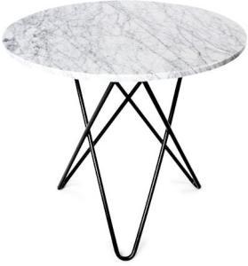 OX DENMARQ O Table Spisebord Svart/Matt Hvit Marmor Ø80