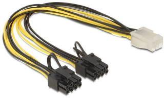 DELOCK Powerkabel 6Pin -> 8Pin Bu/St 0.30m (83433)