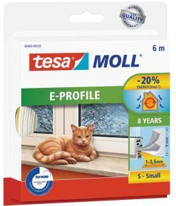 Tesa E-list 05463-00120-00 Tetningstape EPDM, 6 m, 9 mm x 4 mm Hvit