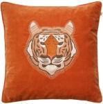 Chhatwal & Jonsson Chhatwal & Jonsson-Embroidered Tiger Velvet Putetrekk 50x50cm Orange