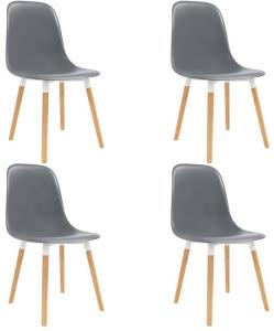 Spisestoler 4 stk grå plast - Grå