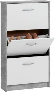 FMD Skoskap med 3 skråskuffer hvit og betonggrå