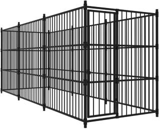 Utendørs hundegård 450x150x185 cm - Svart
