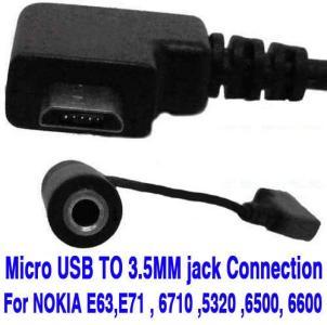 X3 linje ut kabel fra mikro USB til 3,5 mm jack hunnkontakt