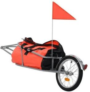 vidaXL Sykkeltilhenger med veske oransje og svart