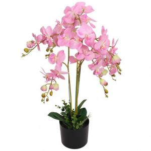 Kunstig orkide med potte 75 cm - rosa