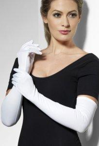 Lange hansker i hvit - 52 cm