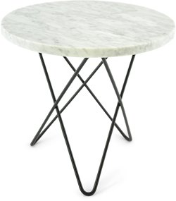 OX DENMARQ Mini O Table Hvit Marmor med Svart Ramme Ø40