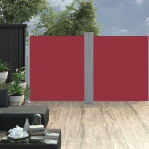 Uttrekkbar sidemarkise dobbel 160x600 cm - rød