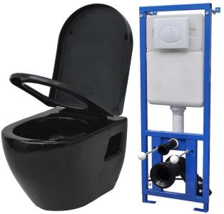 Vegghengt toalett med sisterne keramikk svart -