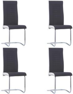 vidaXL Frittbærende spisestoler 4 stk svart stoff