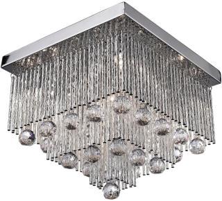 Beatrix Taklampe 5L Flush Krom / Clear Crystal Drops - Searchlight