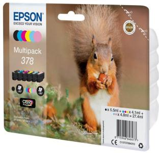 Epson 378 Multipack - 6-pack - svart, gul, cyan, magenta, lys magenta, lys cyan - original - blekkpatron (C13T37884020)