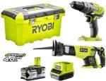 RYOBI ONE PLUS Skrutrekker + bajonettsag R18CK2-14T 4 deler 18 V 4,0 Ah