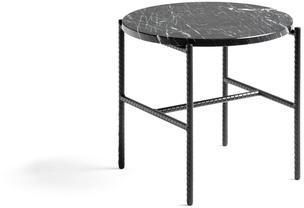 Sofabord Hay, Rebar Sidebord, Soft Sort Pulverlakkert Stål, Marmor Ø450xh.405 mm