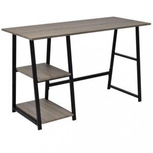 Skrivebord med 2 hyller grå og eik