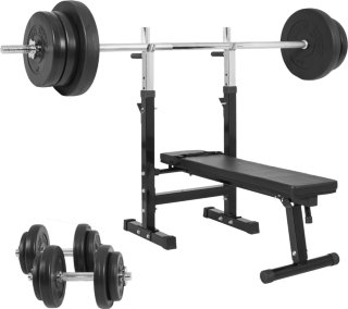 Gorilla Sports Treningsbenk inkl. Vinyl Vektsett - 70 kg