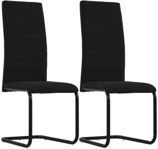 vidaXL Frittbærende spisestoler 2 stk svart stoff