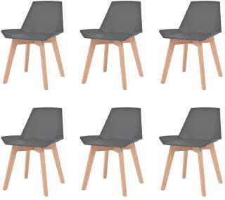 vidaXL Spisestoler 6 stk grå plast