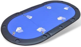 vidaXL 10-spiller pokerbord sammenleggbar bordplate blå