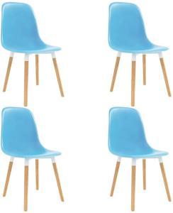 Spisestoler 4 stk blå plast - Blå