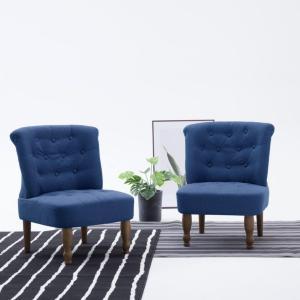 vidaXL Fransk stol blå stoff