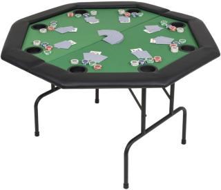 vidaXL 8-spiller pokerbord sammenleggbar 2 delt åttekantet grønn