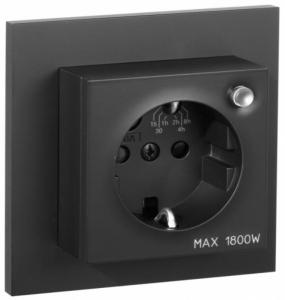 Plus enkel stikk m/timer SO Nettspenning:230V AC 50 Hz Ohm Elko