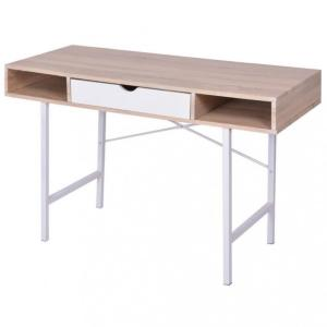 Skrivebord med 1 skuff eik og hvit