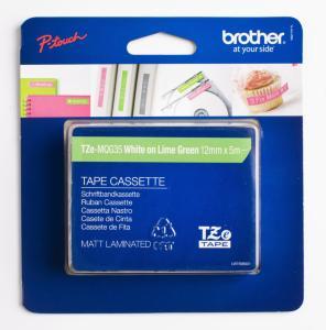 Brother P-Touch Label Tape Hvit på Grønn 12mm (5m) TZE-MQG35 (Kan sendes i brev)